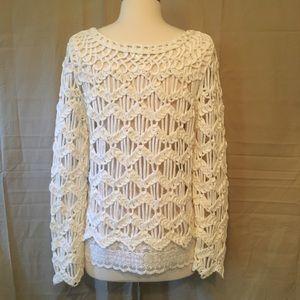 Everleigh Open Knit Crochet Lace Sweater Small
